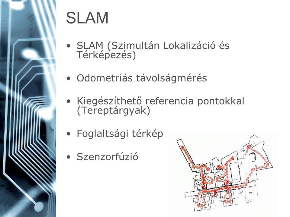 SLAM SLAM (Szimultán Lokalizáció és Térképezés) Odometriás távolságmérés Kiegészíthető referencia pontokkal (Tereptárgyak) Foglaltsági térkép Szenzorf