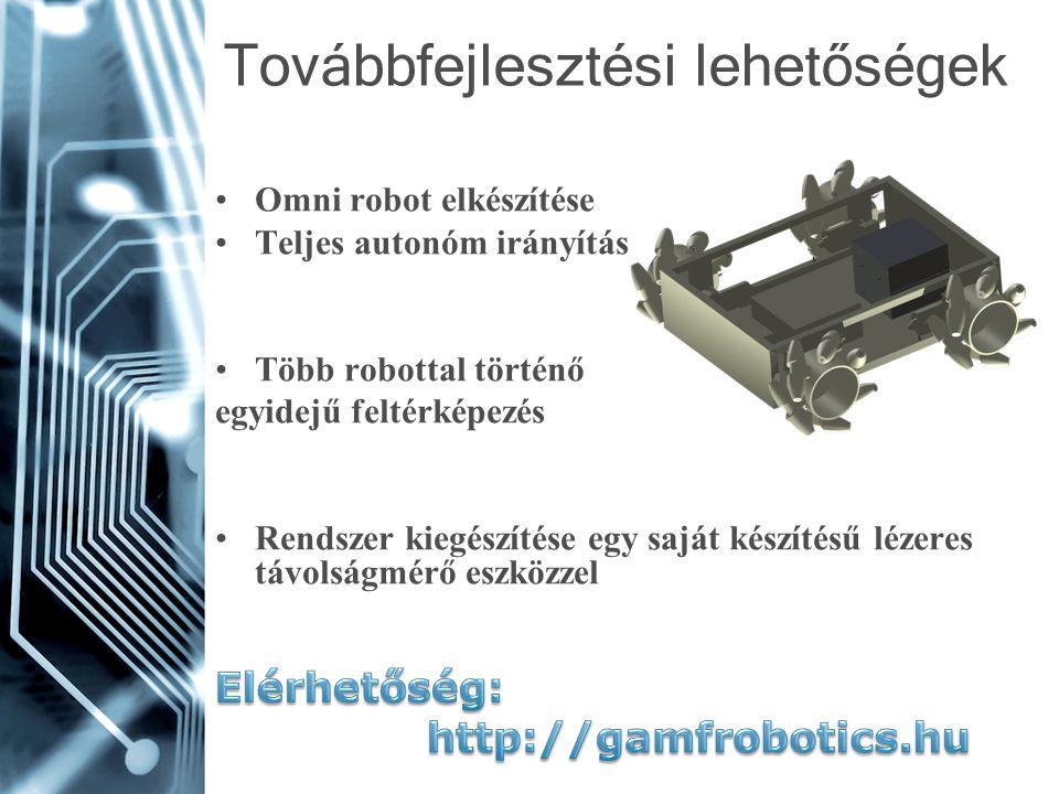 Továbbfejlesztési lehetőségek Omni robot elkészítése Teljes autonóm irányítás Több robottal történő egyidejű feltérképezés Rendszer kiegészítése egy s