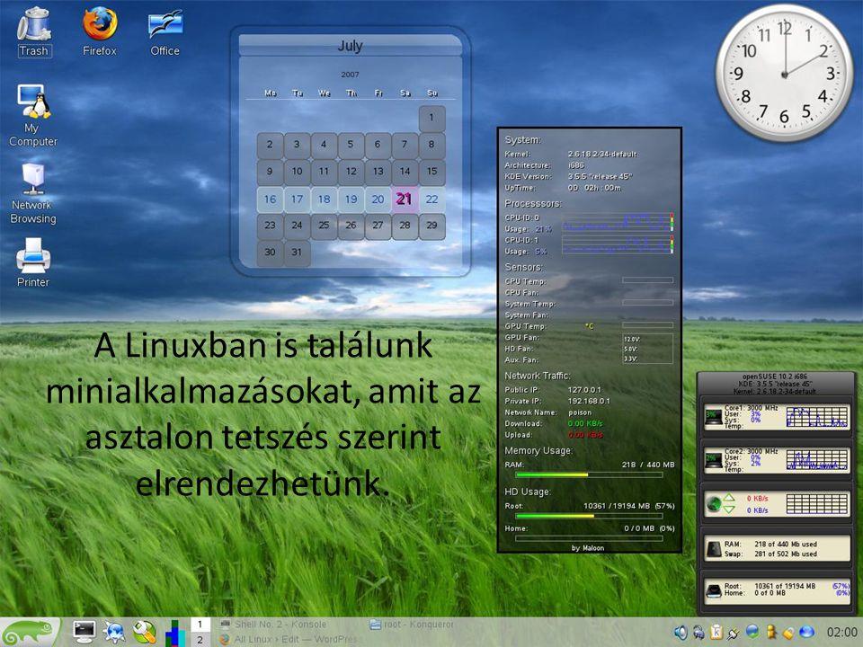 A Linuxban is találunk minialkalmazásokat, amit az asztalon tetszés szerint elrendezhetünk. Naptár Rendszerinformációk Óra