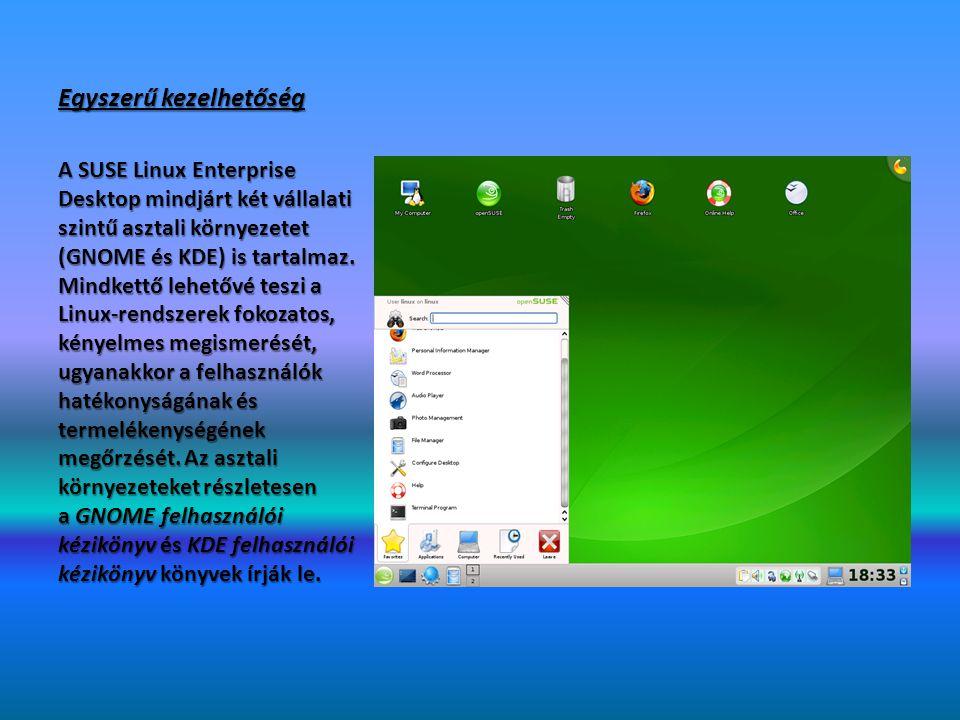 Mobil felhasználók támogatása Mivel a NetworkManager technológia teljes mértékben integrálva van a SUSE Linux Enterprise Desktop rendszerbe és a két asztali környezetbe, a mobil felhasználók élvezhetik a vezetékes és vezetéknélküli hálózatokba való egyszerű belépés és a hálózatok közötti váltás minden előnyét.