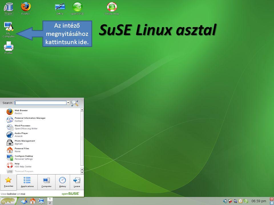 SuSE Linux asztal Az intéző megnyitásához kattintsunk ide.