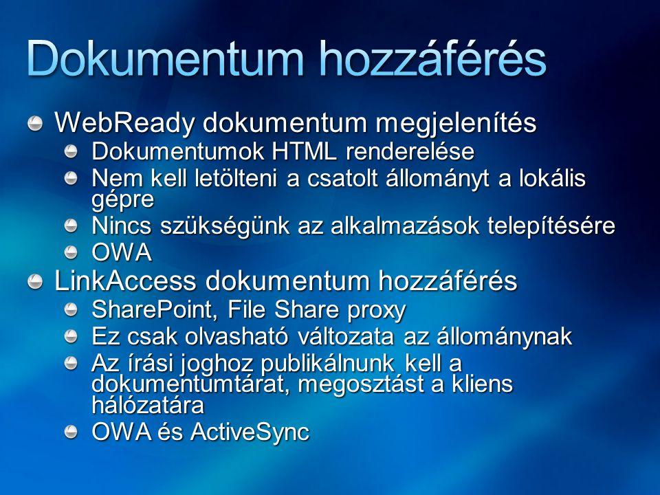 WebReady dokumentum megjelenítés Dokumentumok HTML renderelése Nem kell letölteni a csatolt állományt a lokális gépre Nincs szükségünk az alkalmazások telepítésére OWA LinkAccess dokumentum hozzáférés SharePoint, File Share proxy Ez csak olvasható változata az állománynak Az írási joghoz publikálnunk kell a dokumentumtárat, megosztást a kliens hálózatára OWA és ActiveSync