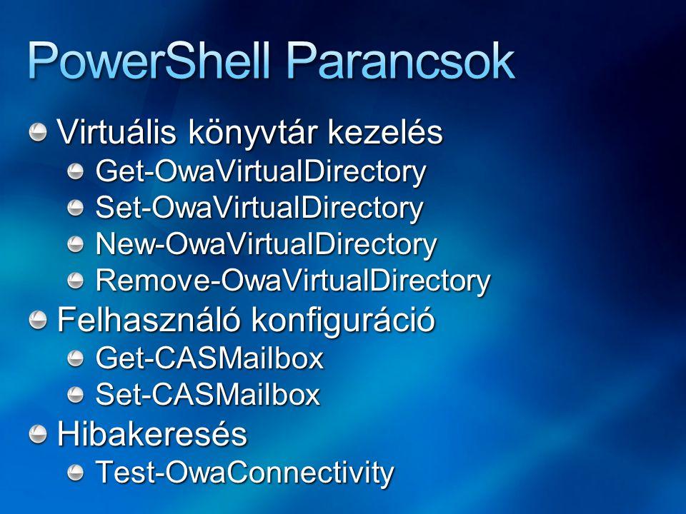 Virtuális könyvtár kezelés Get-OwaVirtualDirectorySet-OwaVirtualDirectoryNew-OwaVirtualDirectoryRemove-OwaVirtualDirectory Felhasználó konfiguráció Get-CASMailboxSet-CASMailboxHibakeresésTest-OwaConnectivity