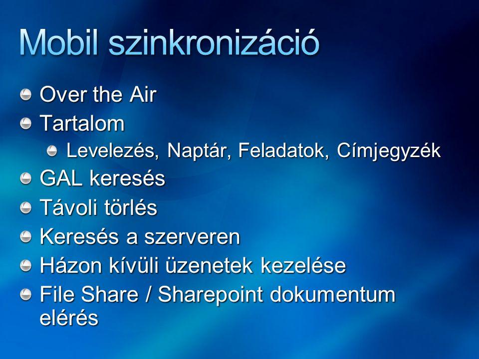 Over the Air Tartalom Levelezés, Naptár, Feladatok, Címjegyzék GAL keresés Távoli törlés Keresés a szerveren Házon kívüli üzenetek kezelése File Share / Sharepoint dokumentum elérés