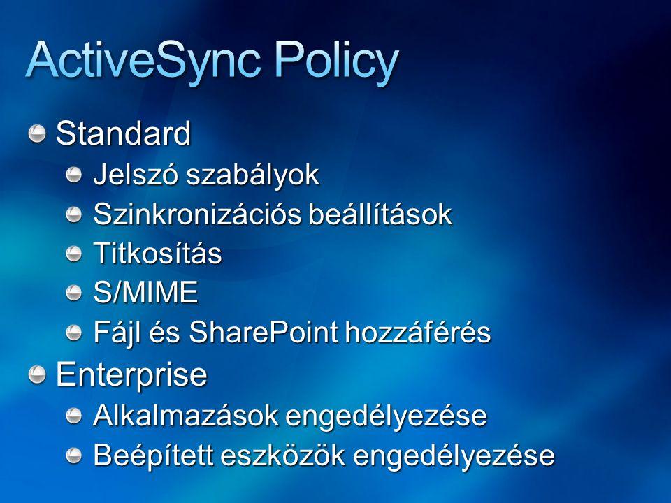 Standard Jelszó szabályok Szinkronizációs beállítások TitkosításS/MIME Fájl és SharePoint hozzáférés Enterprise Alkalmazások engedélyezése Beépített eszközök engedélyezése