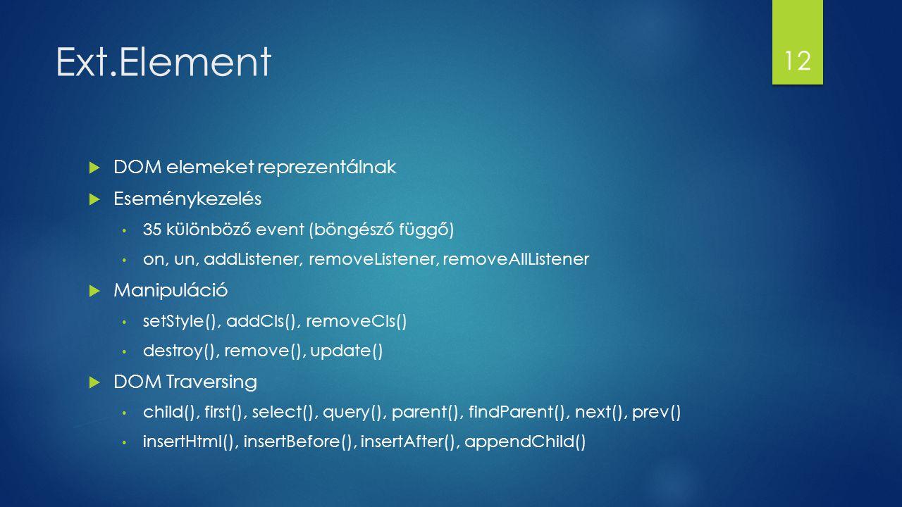 Ext.Element  DOM elemeket reprezentálnak  Eseménykezelés 35 különböző event (böngésző függő) on, un, addListener, removeListener, removeAllListener