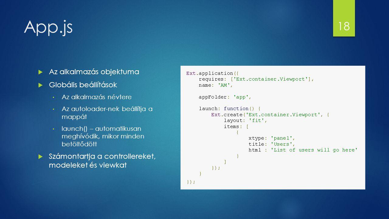 App.js  Az alkalmazás objektuma  Globális beállítások Az alkalmazás névtere Az autoloader-nek beállítja a mappát launch() – automatikusan meghívódik