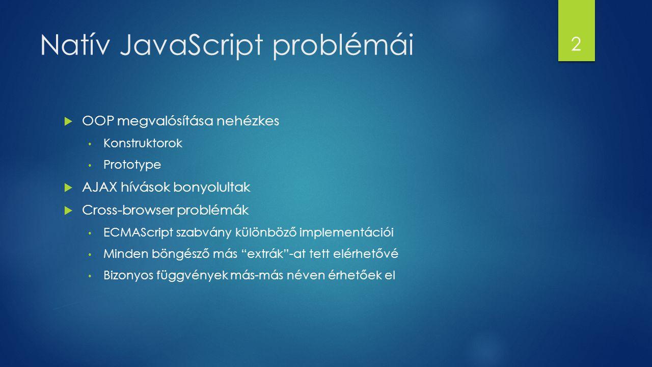 Natív JavaScript problémái  OOP megvalósítása nehézkes Konstruktorok Prototype  AJAX hívások bonyolultak  Cross-browser problémák ECMAScript szabvá
