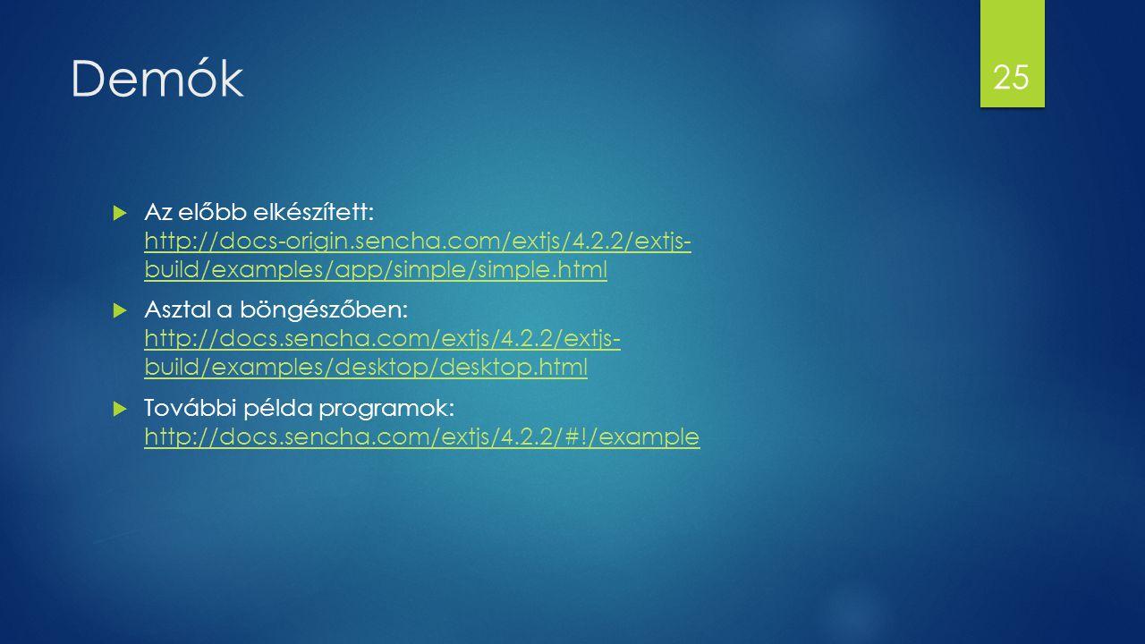 Demók  Az előbb elkészített: http://docs-origin.sencha.com/extjs/4.2.2/extjs- build/examples/app/simple/simple.html http://docs-origin.sencha.com/ext