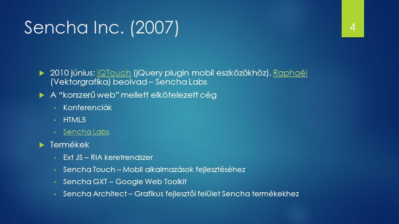 """Sencha Inc. (2007)  2010 június: jQTouch (jQuery plugin mobil eszközökhöz), Raphaël (Vektorgrafika) beolvad – Sencha LabsjQTouchRaphaël  A """"korszerű"""