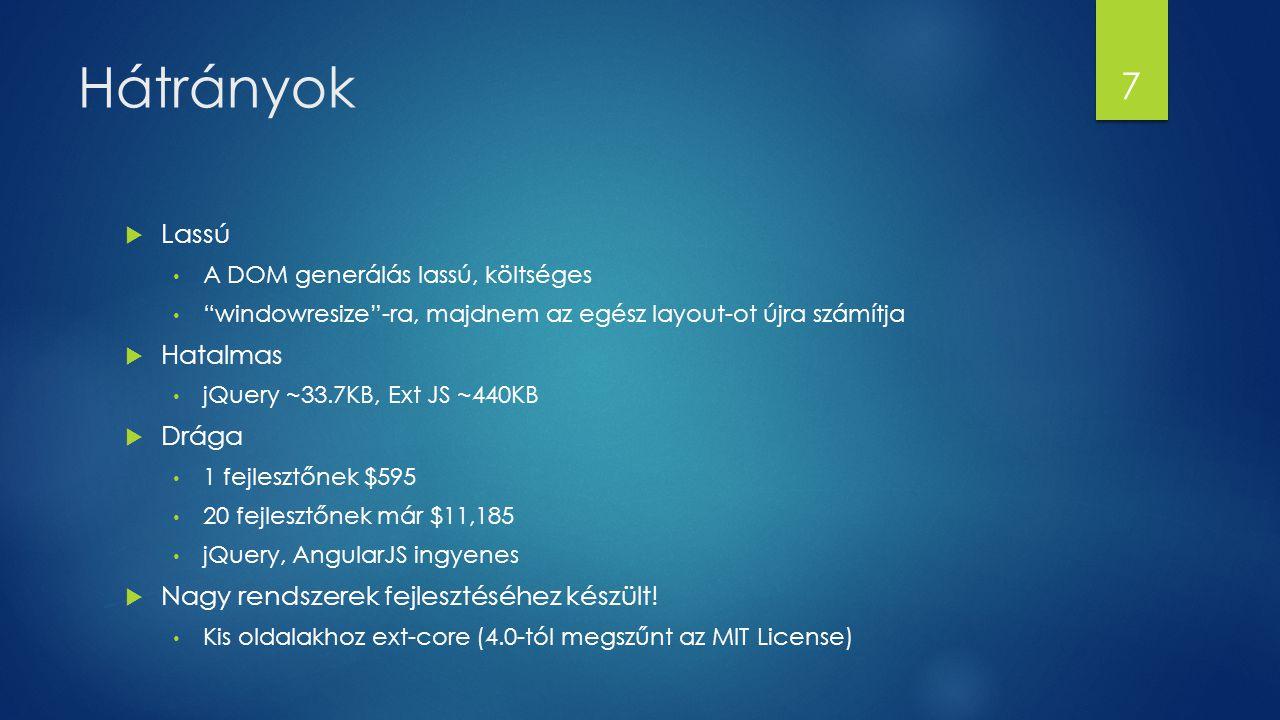 """Hátrányok  Lassú A DOM generálás lassú, költséges """"windowresize""""-ra, majdnem az egész layout-ot újra számítja  Hatalmas jQuery ~33.7KB, Ext JS ~440K"""