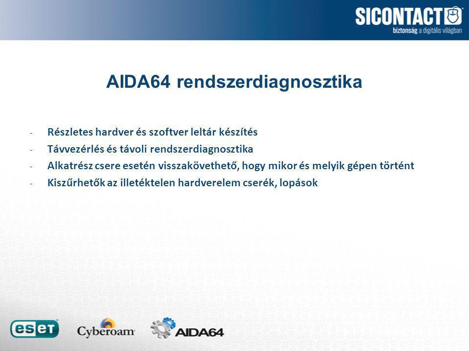 AIDA64 rendszerdiagnosztika - Részletes hardver és szoftver leltár készítés - Távvezérlés és távoli rendszerdiagnosztika - Alkatrész csere esetén visszakövethető, hogy mikor és melyik gépen történt - Kiszűrhetők az illetéktelen hardverelem cserék, lopások