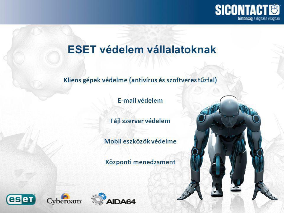 ESET védelem vállalatoknak Kliens gépek védelme (antivírus és szoftveres tűzfal) E-mail védelem Fájl szerver védelem Mobil eszközök védelme Központi menedzsment