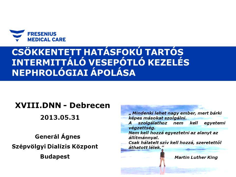 """Ellátási modellek Page 3 Csökkentett hatásfokú, tartós intermittáló vesepótló kezelés nephrológiai ápolása, Generál Ágnes DNN 2013/05/31 ITO önmagában indikál és végrehajt (Tipikusan Nyugat-Európa egyes részei) Nefrológus konzultál, ITO végrehajt (Észak-Amerika, Nyugat-Európa) Nefrológus konzultál, dialízis személyzet végrehajt (Észak-Amerika, Nyugat-Európa egyes részei, Magyarország?) Fogalmak: Intermittáló: másnaponta végzett, de napjainkban a """"nem folyamatos szinonimájaként is használatos (naponta, de nem folyamatosan) CVVHDF stb.: Technika (géptípus ezt írja ki a képernyőre?) vagy valóban folyamatos (valójában ritkán több, mint 18/24 óra) ITO beteg valódi orvosi szükségletei"""