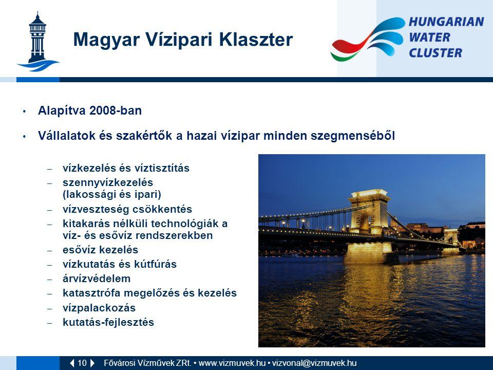 10 Magyar Vízipari Klaszter Alapítva 2008-ban Vállalatok és szakértők a hazai vízipar minden szegmenséből – vízkezelés és víztisztítás – szennyvízkezelés (lakossági és ipari) – vízveszteség csökkentés – kitakarás nélküli technológiák a víz- és esővíz rendszerekben – esővíz kezelés – vízkutatás és kútfúrás – árvízvédelem – katasztrófa megelőzés és kezelés – vízpalackozás – kutatás-fejlesztés Fővárosi Vízművek ZRt.