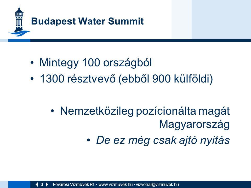 3 Budapest Water Summit Mintegy 100 országból 1300 résztvevő (ebből 900 külföldi) Nemzetközileg pozícionálta magát Magyarország De ez még csak ajtó nyitás Fővárosi Vízművek Rt.