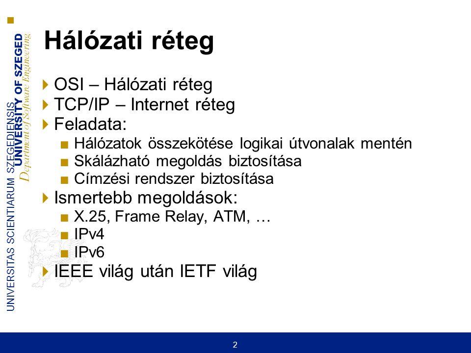 UNIVERSITY OF SZEGED D epartment of Software Engineering UNIVERSITAS SCIENTIARUM SZEGEDIENSIS 2 Hálózati réteg  OSI – Hálózati réteg  TCP/IP – Inter