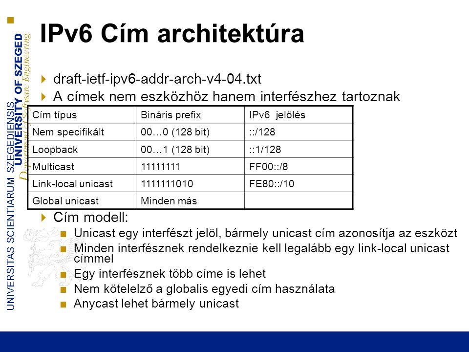 UNIVERSITY OF SZEGED D epartment of Software Engineering UNIVERSITAS SCIENTIARUM SZEGEDIENSIS 20 IPv6 Cím architektúra  draft-ietf-ipv6-addr-arch-v4-