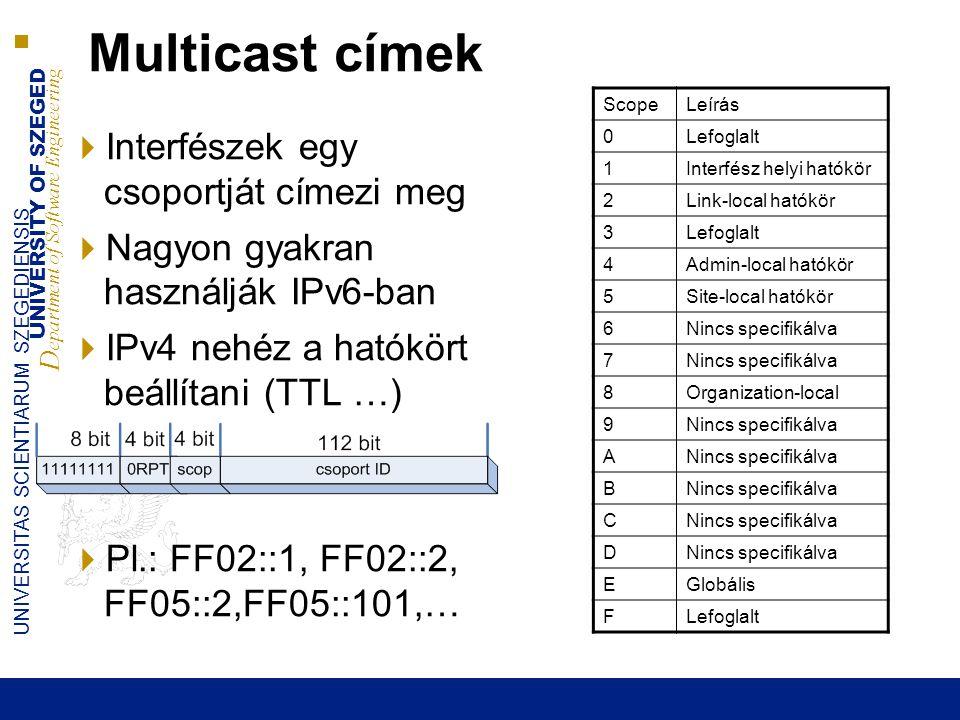 UNIVERSITY OF SZEGED D epartment of Software Engineering UNIVERSITAS SCIENTIARUM SZEGEDIENSIS 24 Multicast címek  Interfészek egy csoportját címezi m
