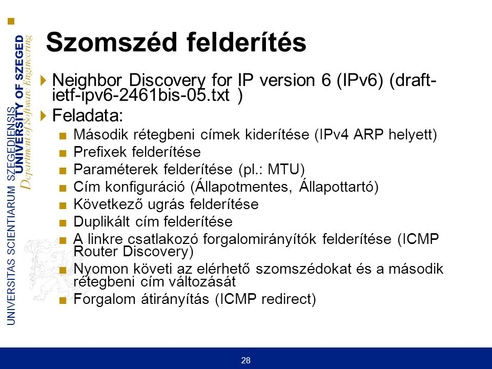 UNIVERSITY OF SZEGED D epartment of Software Engineering UNIVERSITAS SCIENTIARUM SZEGEDIENSIS 28 Szomszéd felderítés  Neighbor Discovery for IP versi