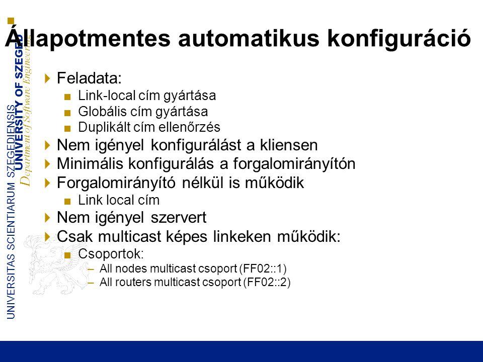UNIVERSITY OF SZEGED D epartment of Software Engineering UNIVERSITAS SCIENTIARUM SZEGEDIENSIS 31 Állapotmentes automatikus konfiguráció  Feladata: ■L