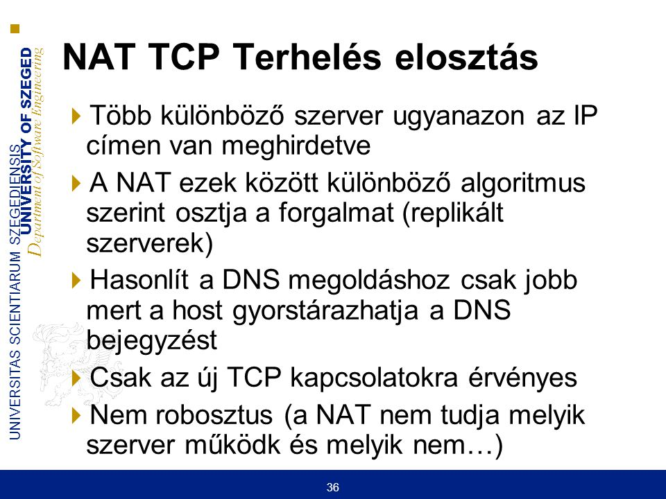 UNIVERSITY OF SZEGED D epartment of Software Engineering UNIVERSITAS SCIENTIARUM SZEGEDIENSIS 36 NAT TCP Terhelés elosztás  Több különböző szerver ug