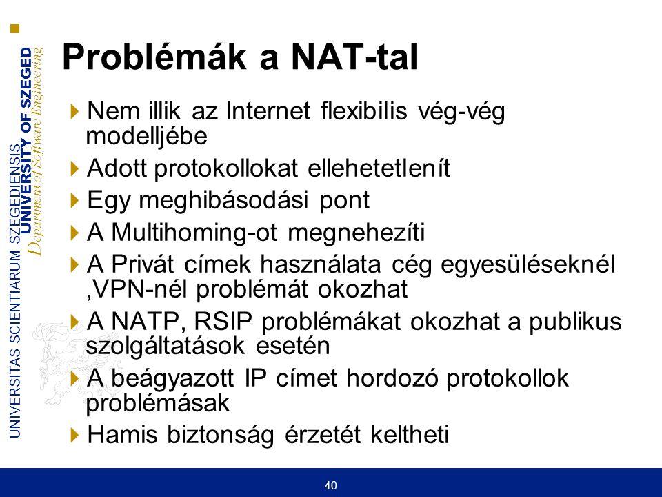 UNIVERSITY OF SZEGED D epartment of Software Engineering UNIVERSITAS SCIENTIARUM SZEGEDIENSIS 40 Problémák a NAT-tal  Nem illik az Internet flexibili