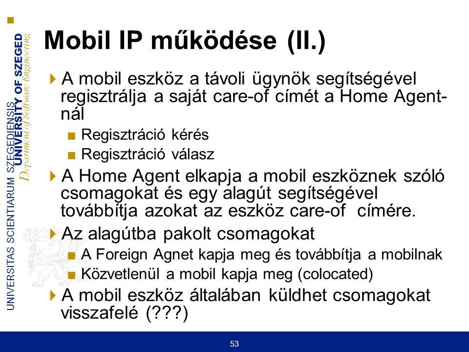 UNIVERSITY OF SZEGED D epartment of Software Engineering UNIVERSITAS SCIENTIARUM SZEGEDIENSIS 53 Mobil IP működése (II.)  A mobil eszköz a távoli ügy