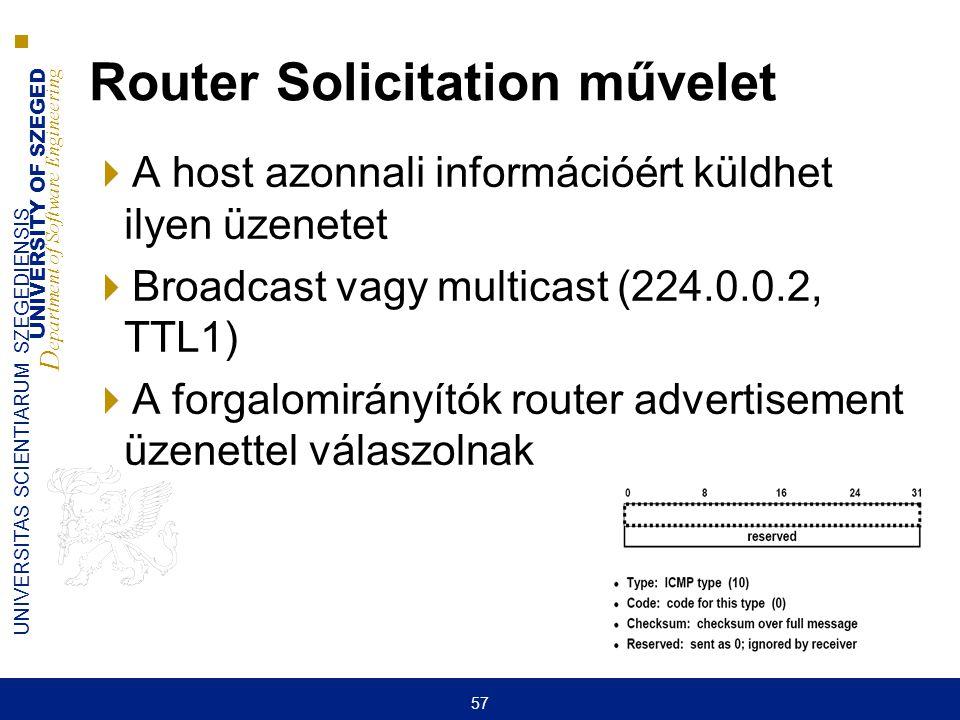UNIVERSITY OF SZEGED D epartment of Software Engineering UNIVERSITAS SCIENTIARUM SZEGEDIENSIS 57 Router Solicitation művelet  A host azonnali informá