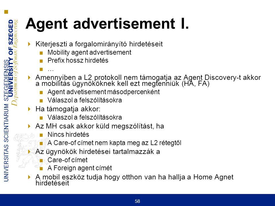 UNIVERSITY OF SZEGED D epartment of Software Engineering UNIVERSITAS SCIENTIARUM SZEGEDIENSIS 58 Agent advertisement I.  Kiterjeszti a forgalomirányí