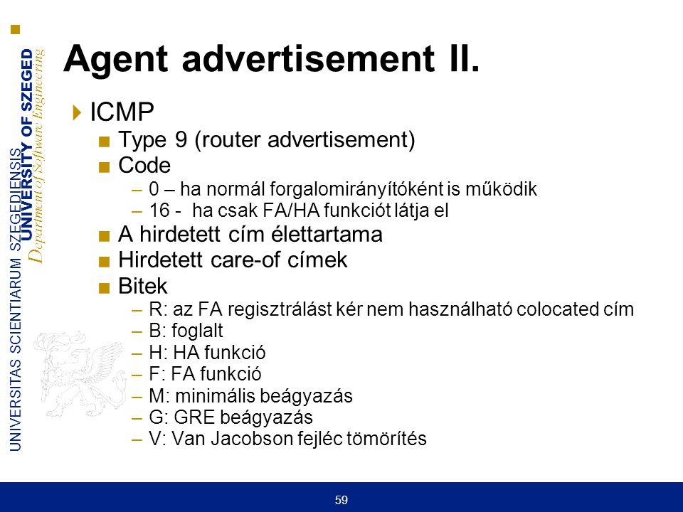 UNIVERSITY OF SZEGED D epartment of Software Engineering UNIVERSITAS SCIENTIARUM SZEGEDIENSIS 59 Agent advertisement II.  ICMP ■Type 9 (router advert