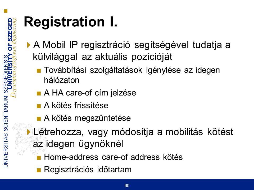 UNIVERSITY OF SZEGED D epartment of Software Engineering UNIVERSITAS SCIENTIARUM SZEGEDIENSIS 60 Registration I.  A Mobil IP regisztráció segítségéve