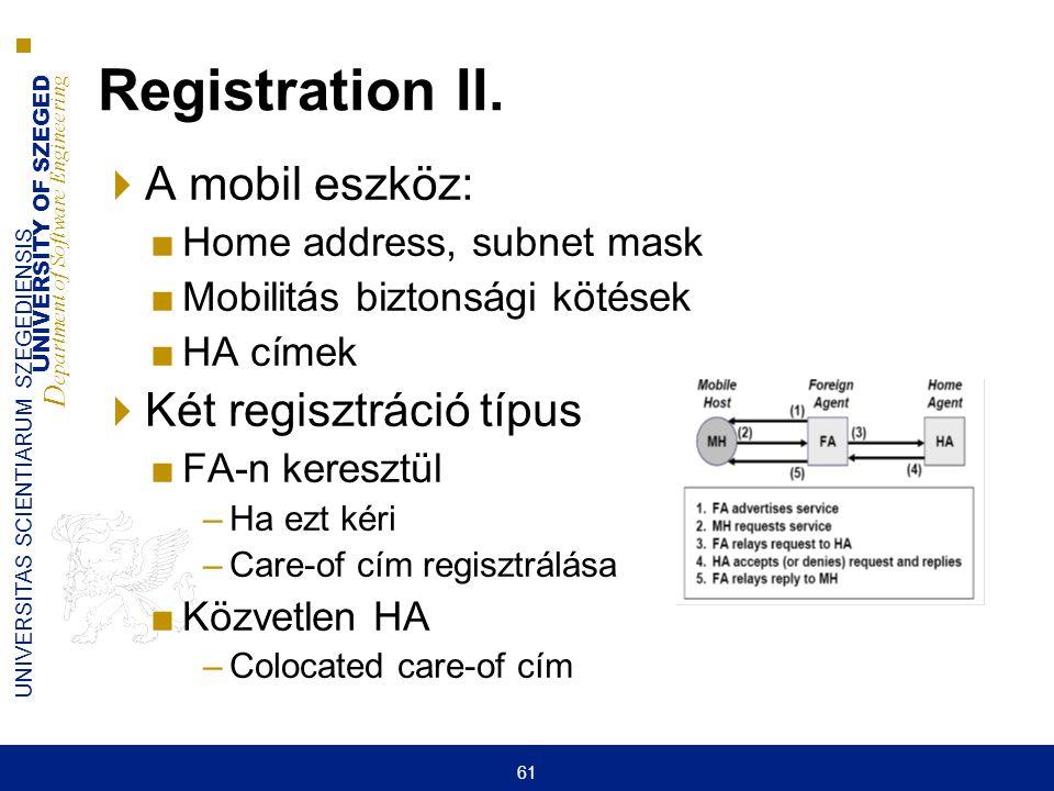 UNIVERSITY OF SZEGED D epartment of Software Engineering UNIVERSITAS SCIENTIARUM SZEGEDIENSIS 61 Registration II.  A mobil eszköz: ■Home address, sub