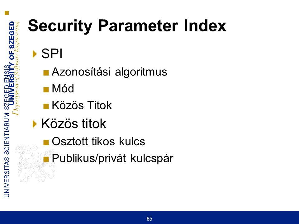 UNIVERSITY OF SZEGED D epartment of Software Engineering UNIVERSITAS SCIENTIARUM SZEGEDIENSIS 65 Security Parameter Index  SPI ■Azonosítási algoritmu