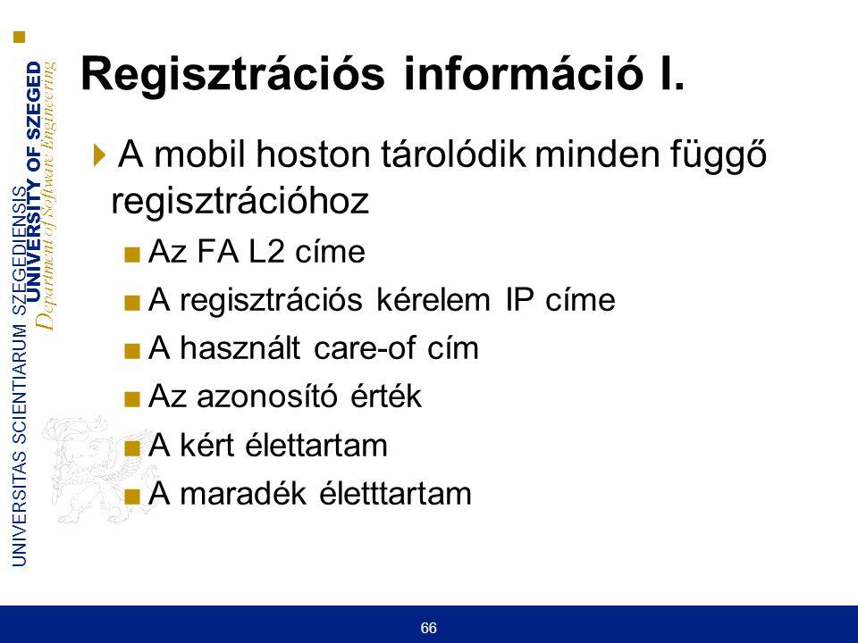 UNIVERSITY OF SZEGED D epartment of Software Engineering UNIVERSITAS SCIENTIARUM SZEGEDIENSIS 66 Regisztrációs információ I.  A mobil hoston tárolódi