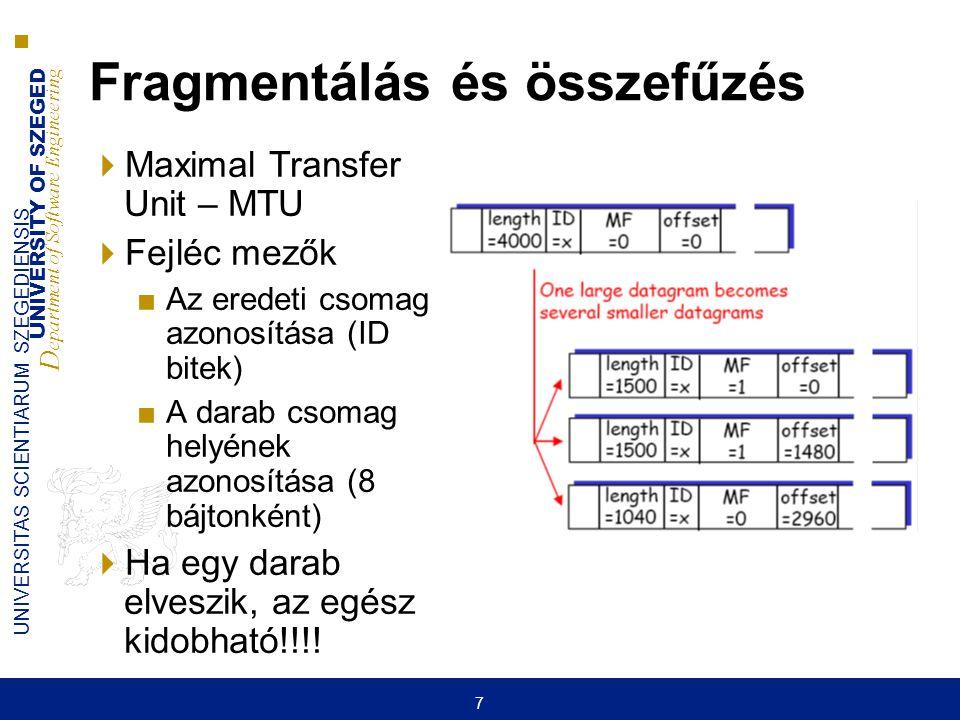 UNIVERSITY OF SZEGED D epartment of Software Engineering UNIVERSITAS SCIENTIARUM SZEGEDIENSIS 7 Fragmentálás és összefűzés  Maximal Transfer Unit – M