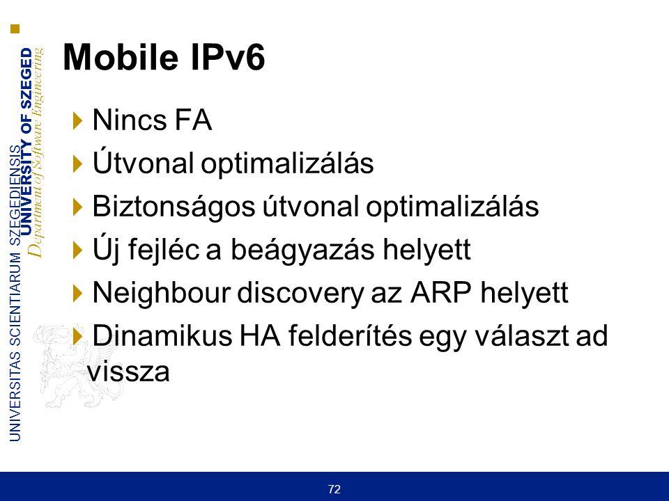 UNIVERSITY OF SZEGED D epartment of Software Engineering UNIVERSITAS SCIENTIARUM SZEGEDIENSIS 72 Mobile IPv6  Nincs FA  Útvonal optimalizálás  Bizt