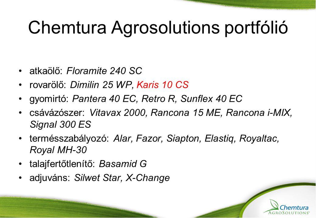 Chemtura Agrosolutions portfólió atkaölő: Floramite 240 SC rovarölő: Dimilin 25 WP, Karis 10 CS gyomirtó: Pantera 40 EC, Retro R, Sunflex 40 EC csávázószer: Vitavax 2000, Rancona 15 ME, Rancona i-MIX, Signal 300 ES termésszabályozó: Alar, Fazor, Siapton, Elastiq, Royaltac, Royal MH-30 talajfertőtlenítő: Basamid G adjuváns: Silwet Star, X-Change
