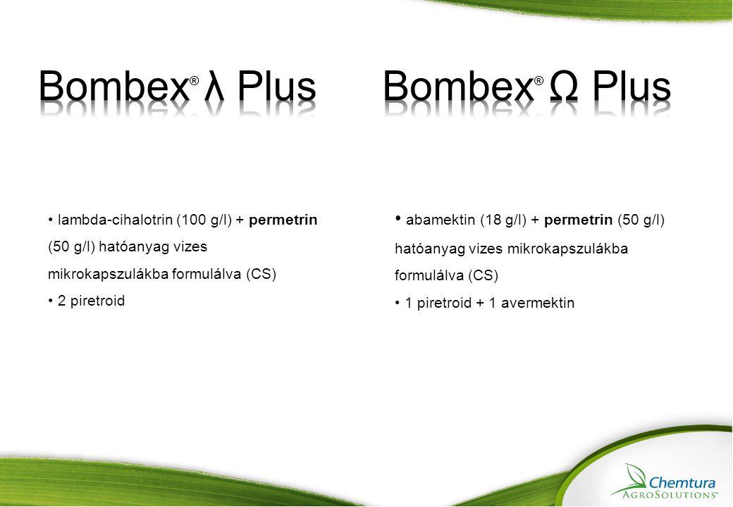 Bombex ® Ω PlusBombex ® λ Plus Hatóanyag koncentráció 1,8 % abamektin + 5,0 % permetrin (18 + 50 g/l) 9,7 % lambda-cihalotrin + 5,0 % permetrin (100 + 50 g/l) FormulációVízben oldott mikrokapszula szuszpenzió Fő károsítók 1.Legyek (Musca domestica, Musca autunnalis, Haematobia irritans és Stomoxys calcitrans) 2.