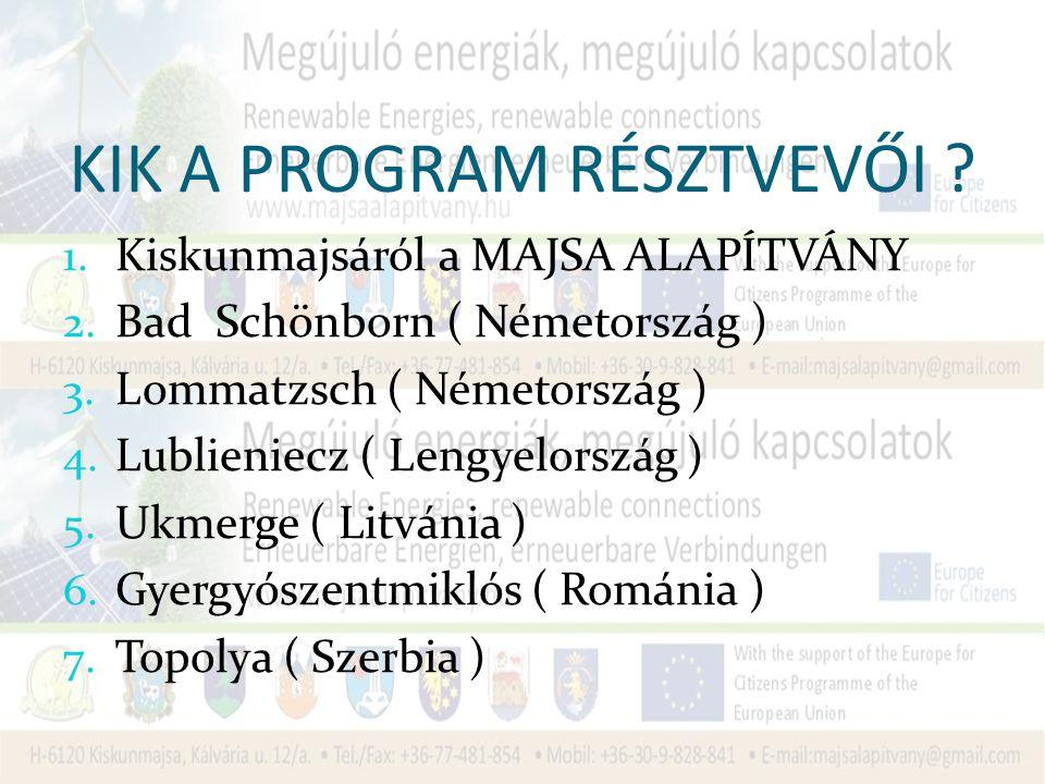 KIK A PROGRAM RÉSZTVEVŐI .1. Kiskunmajsáról a MAJSA ALAPÍTVÁNY 2.