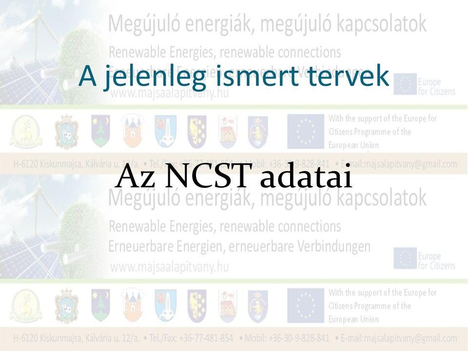 A jelenleg ismert tervek Az NCST adatai