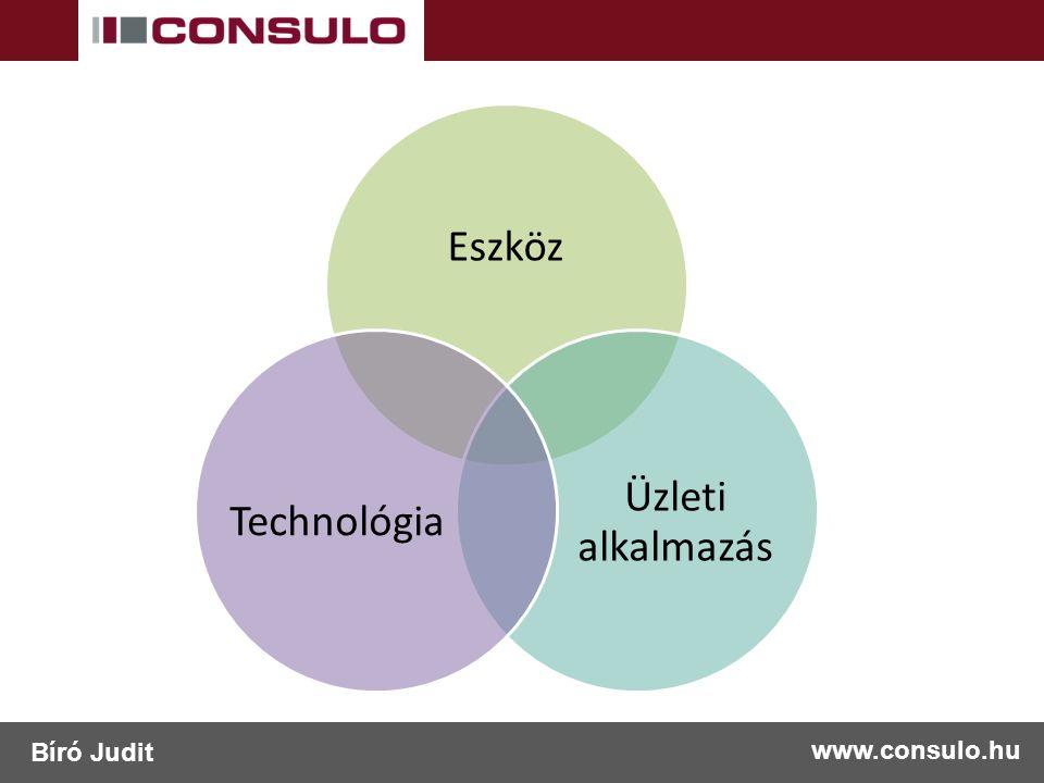 Eszköz Üzleti alkalmazás Technológia www.consulo.hu Bíró Judit
