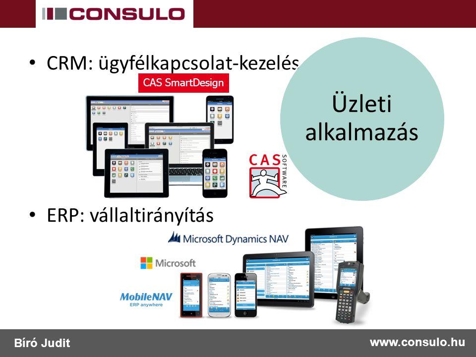 CRM: ügyfélkapcsolat-kezelés ERP: vállaltirányítás Üzleti alkalmazás www.consulo.hu Bíró Judit CAS SmartDesign
