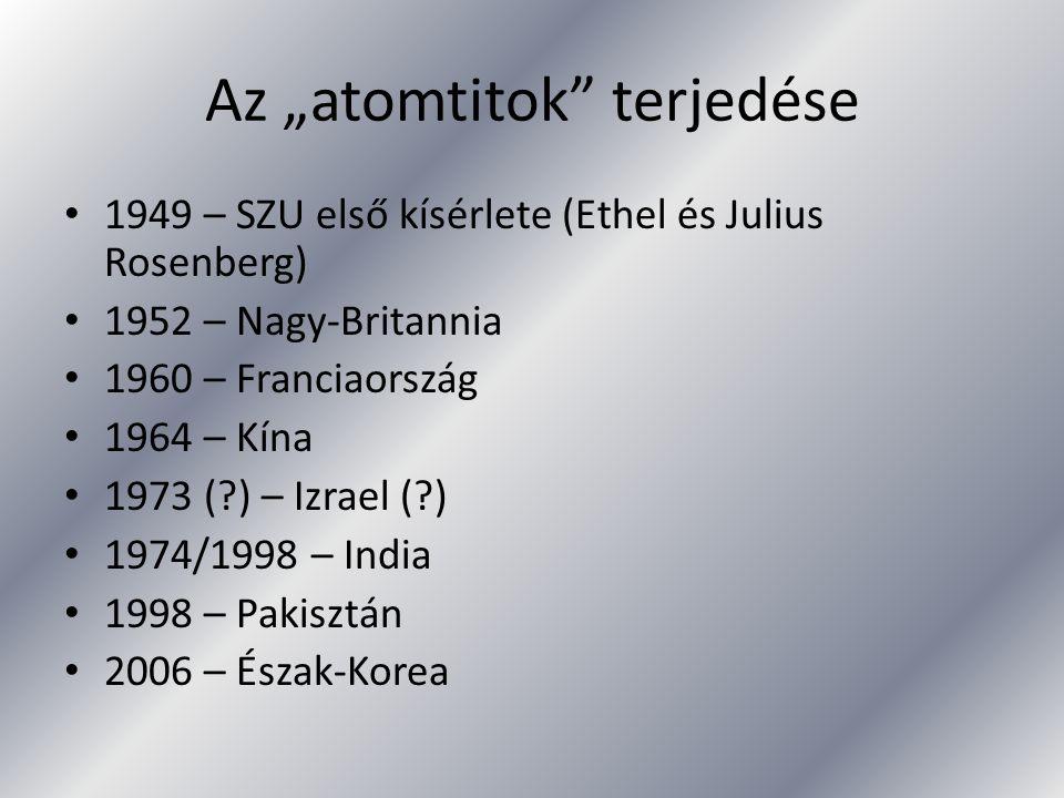 """Az """"atomtitok"""" terjedése 1949 – SZU első kísérlete (Ethel és Julius Rosenberg) 1952 – Nagy-Britannia 1960 – Franciaország 1964 – Kína 1973 (?) – Izrae"""