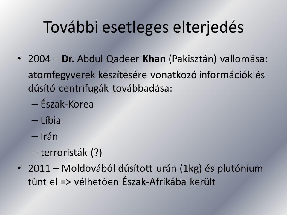 További esetleges elterjedés 2004 – Dr. Abdul Qadeer Khan (Pakisztán) vallomása: atomfegyverek készítésére vonatkozó információk és dúsító centrifugák