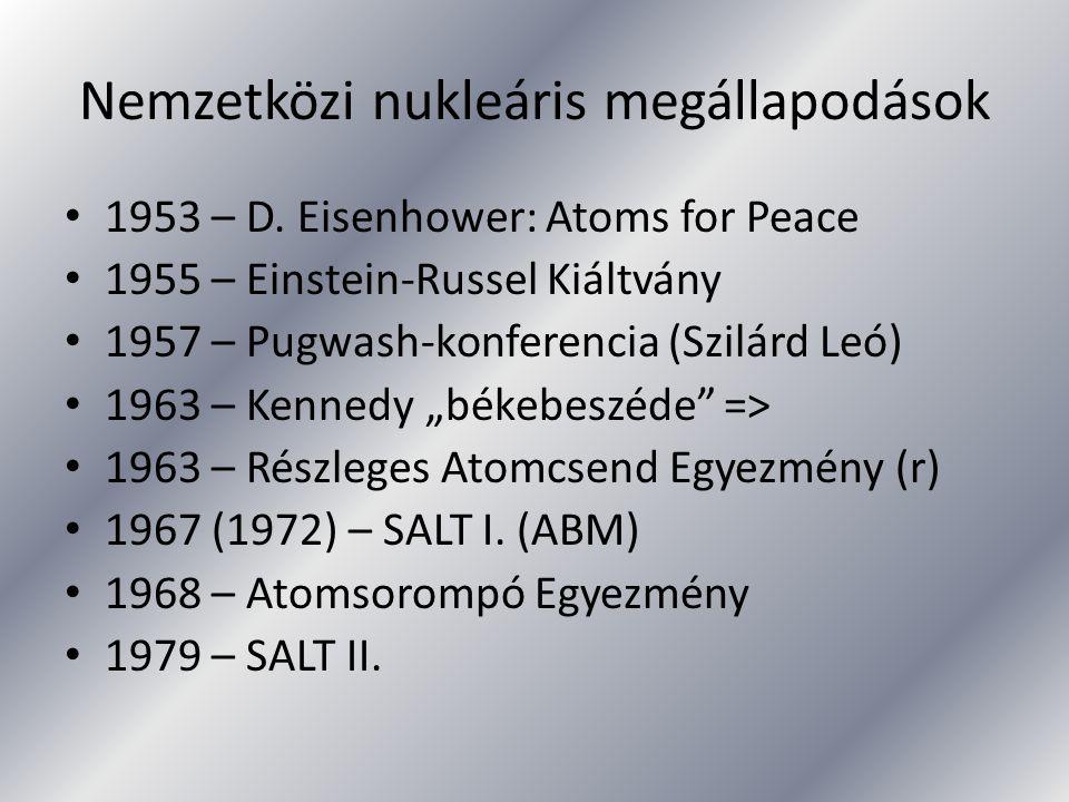Nemzetközi nukleáris megállapodások 1953 – D. Eisenhower: Atoms for Peace 1955 – Einstein-Russel Kiáltvány 1957 – Pugwash-konferencia (Szilárd Leó) 19