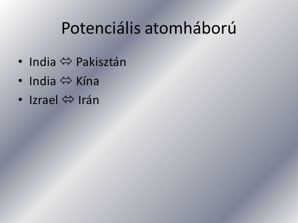 Potenciális atomháború India  Pakisztán India  Kína Izrael  Irán