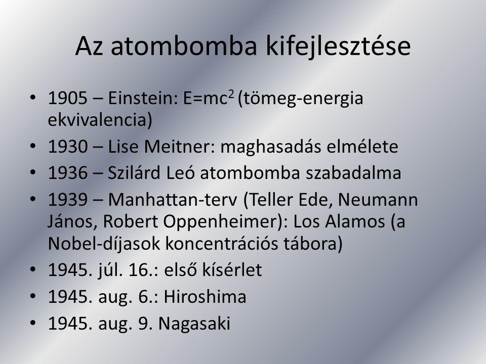 Az atombomba kifejlesztése 1905 – Einstein: E=mc 2 (tömeg-energia ekvivalencia) 1930 – Lise Meitner: maghasadás elmélete 1936 – Szilárd Leó atombomba