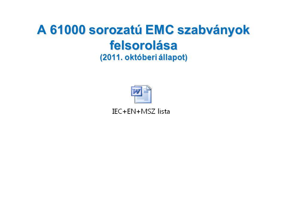A 61000 sorozatú EMC szabványok főszakaszokhoz tartozó szabványok témakörei és db.