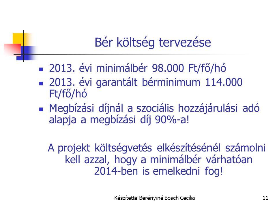 Készítette Berényiné Bosch Cecília11 Bér költség tervezése 2013. évi minimálbér 98.000 Ft/fő/hó 2013. évi garantált bérminimum 114.000 Ft/fő/hó Megbíz